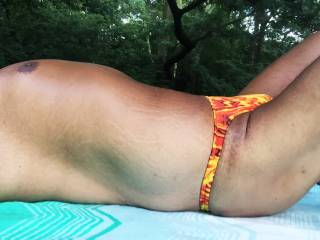 Bikini, speedo, thongs, underwear, sunbathing, outdoors, Central Park