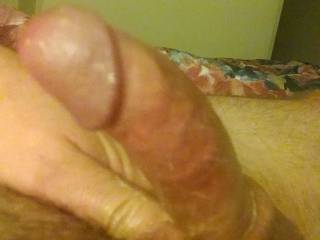 Wishing I had company to help stroke a load out of my lubed cock.