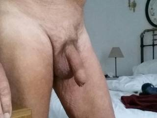 In my tiny hotel room sharing my cock with you.