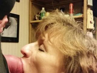 The wife with a mouthful