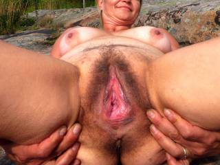 I'm proudly presenting. Granny's old school hairy pussy, experienced by tens and tens of men with all kind of cocks. Still hungry.