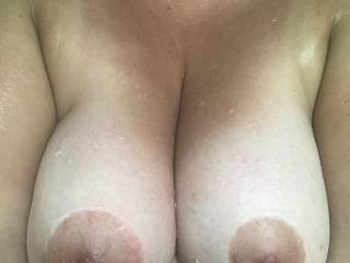 Just got out of a hot steamy wet shower. I wish Mr.D was here to suck on my nipples!