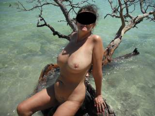 Nude on a Pacific Island. We hired a private beach for a day to get naked.