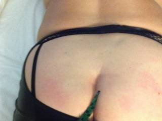 Some feather play after her spanking. Should I kiss it too?