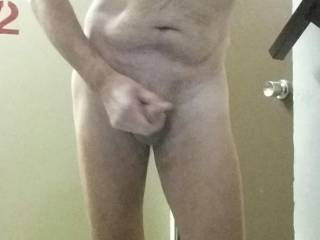 Playing with my cock in stair way of apartment building early in the AM, before people are up and about. I love the feeling of being naked.