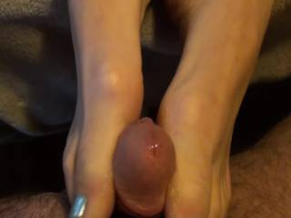 Girlfriend and I just playing around. Love to feel those feet wrapped around my dick and watch her play with and make those nipples big and hard. Do you like to watch your woman play with herself?