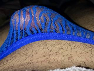 In the blue lace Panties