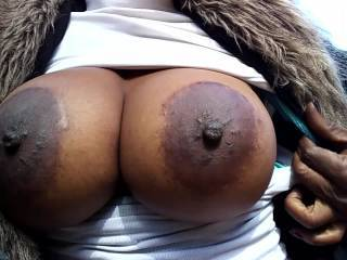At the park. She got a glimpse of these titties amd didnt want to leave.