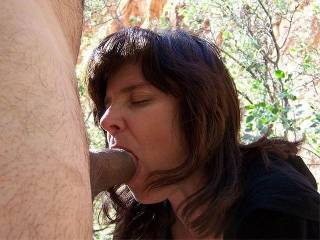 My husband wanted me to tell the story on this one because it was my very first outdoor blowjob with a camera. There were four guys scaling the mountainside but we couldn't see them untill my husband took the final pic of his cumshot on my boobies. We kne