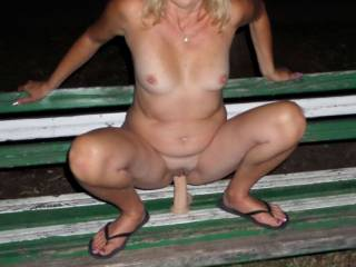 Another park - Riding on a big dick while my husband takes pictures. Would you like to see me in the park?