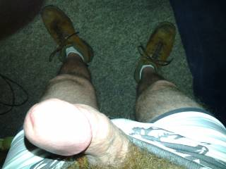 Just standing in my undies and boots showing off