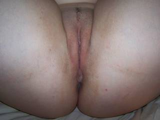 A close up of my wife's pussy, just about ready to fuck her hard!!