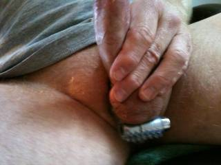 Love the way this cock ring feels on my balls. Ladies could you lend a tongue? ;)