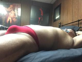 Red thong bulge