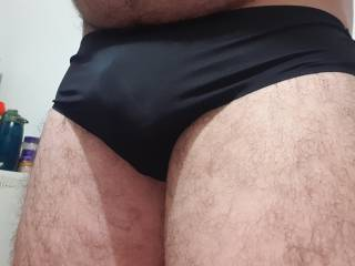 New black panties silky on the front lace on my ass