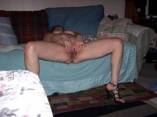wife nude spread couch