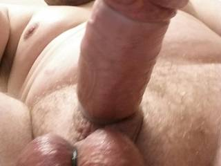Was playing with my cock and balls and decided to put a silicone band around my balls, I think it's a great pic
