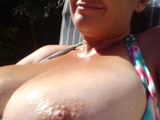 Hi,getting some sun on my boobs :D