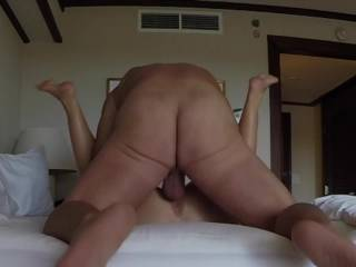 Wife and I fucking missionary with creampie on Maui