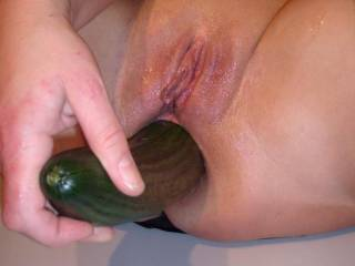 Love hot sexy fun with food and luv watching you have fun with that big cucumber!! Such a huge turn on!! Love to play with strawberries and cream so erotically in your succulent pussy, while I take over givin you a good anal workout with that big cucumber, driving you wild cumming so hard mmmmmmmmmm Then...want you to cover my cock and balls with that cream, sucking my throbbing thick head cock and shove that cucumber in my ass at the same time...