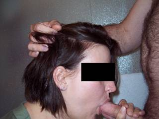What did you do today? Oh, just sucked the cum right out of my husband's best friend's nice fat cock.