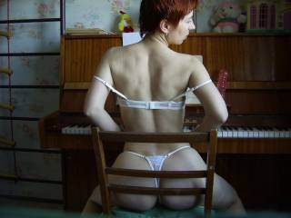 """Sometimes I play the piano. Music excites me. In the pauses between the pieces I play with my """"pink friend."""" He is always with me."""