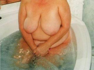 Soaking in the whirlpool. Does anyone recognize the pics or her..lol?