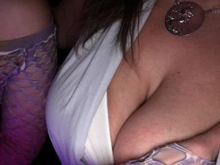 Letting my boobs hang at the club.