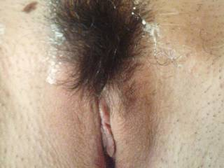 Hairy pussy with cream