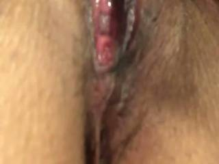My wife jerked off hwr cock on her clit and made herself cum all over it!! Look at that nice creamy cum she left behind! Too bad I wasn't there to lick it up for her!!