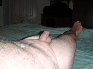 Post-Handjob from wife pic!  I stroked hubby's cock slowly for hours keeping him rock hard and moaning...only allowing him to cum when I was ready!