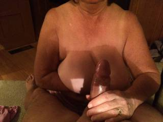 Wife having fun.