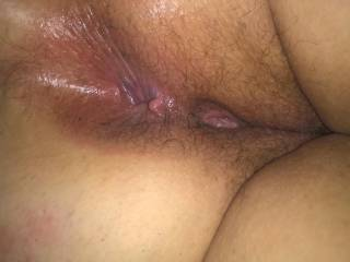 Cum in her hairy holes