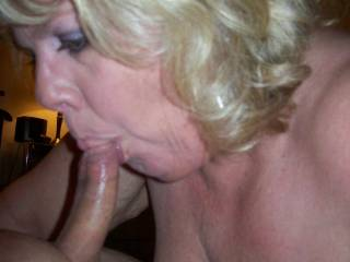 Look at that suction Mrs Daytonohfun has on my cock!  I love to see her cheeks hollow out when she blows me