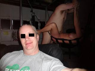 hubby hung over on NYD and T and L fucking in the swing behind him......