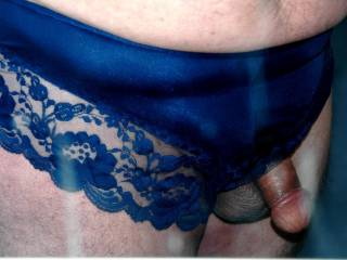 love my cock in these lacy blue panties