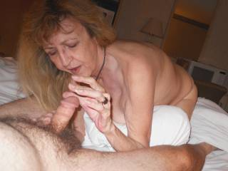 she loved dicks, and she saw thousands of them over the years, such skill this mature slut had, here, she was playing with precum