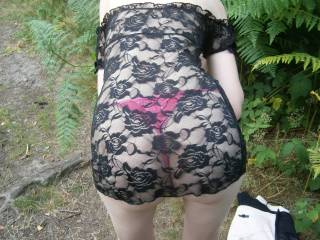 joanne just showing her new outfit in the woods