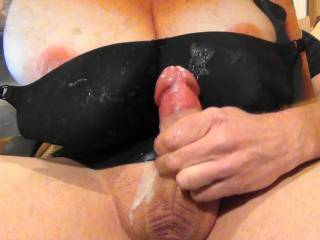 Just shot my 8th black bra bukkake cumload on Sweet T's tasty tits and GF's black bra request. Her reward for the cock tribute pics she sent me. Cum stains all over her bra!