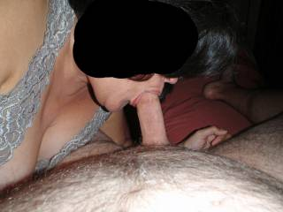 I give hubby a blowjob and swallow all his cum!  Nothing better than having a hard throbbing cock in my mouth!