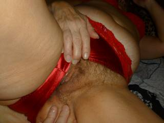 showing my pussy in my red panties