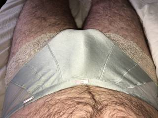 Having fun in my wifes panties. :) x