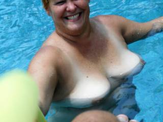 Wife enjoying pool time